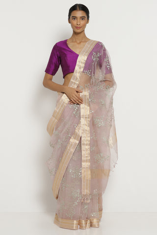 Lilac Handloom Pure Silk-Organza Saree with All Over Floral Embellishments