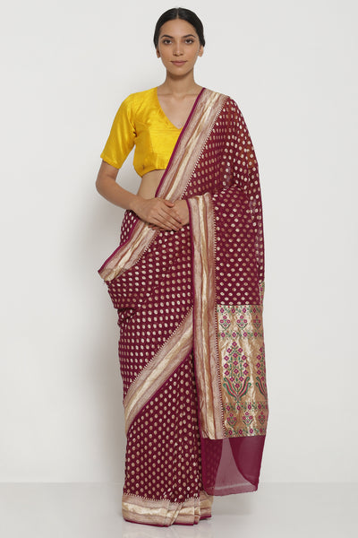 Via East purple handloom pure silk georgette banarasi saree with all over intricate gold zari motifs