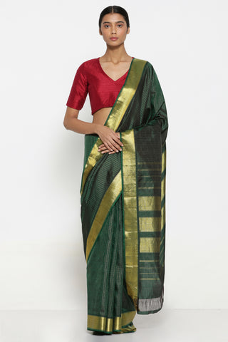Green Handloom Pure Silk Kanjeevaram Saree with All Over Checks and Pure Zari Border