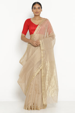 Beige Handloom Pure Silk Cotton Chanderi Saree with All Over Gold Zari Checks
