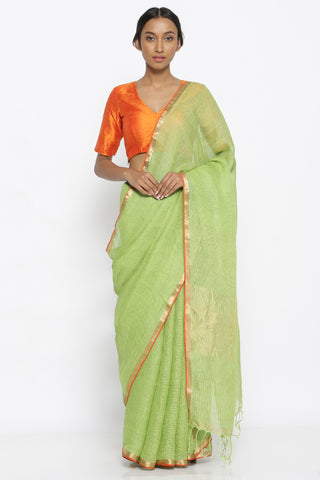 Light Green Pure Linen Tussar Silk Saree with Gold Zari Border