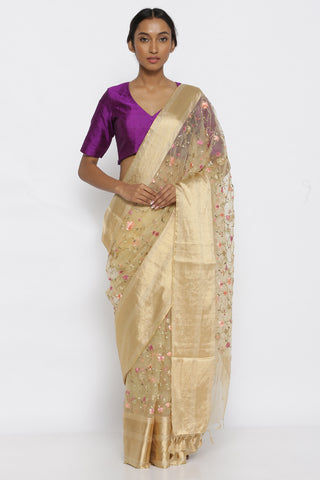 Beige Pure Silk Organza with All Over Floral Embroidery and Gold Zari Border