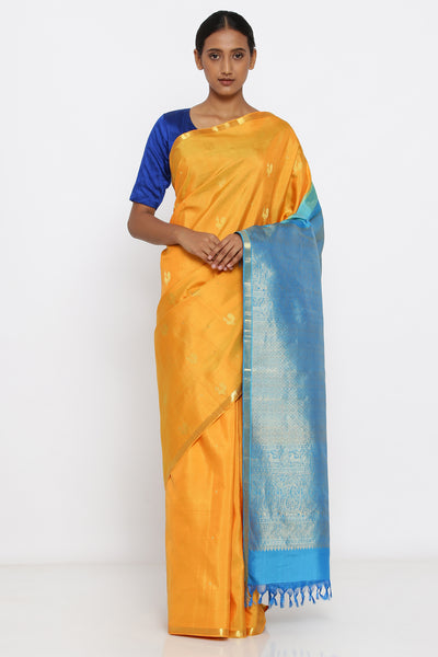 Via East yellow genuine handloom kanjeevaram silk saree with allover peacock zari motif and rich blue pallu