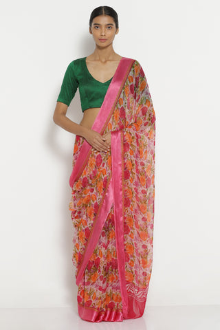 Pink Chiffon Saree with All Over Floral Print and Solid Border