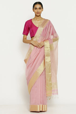 Rose Pink Handloom Pure Cotton Tissue Maheshwari Saree with Gold Zari Border