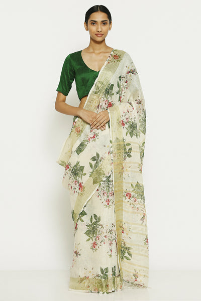 Via East ivory white pure linen saree with all over floral print and gold zari border