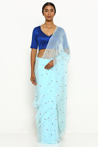 Blue Chiffon Saree with All Over Embellishment
