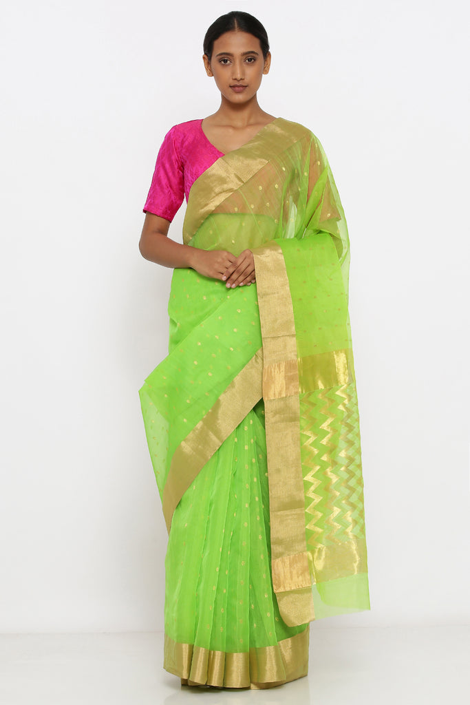 Bright Green Handloom Silk Chanderi Sheer Saree with Allover Zari Motif and chevron pattern Pallu