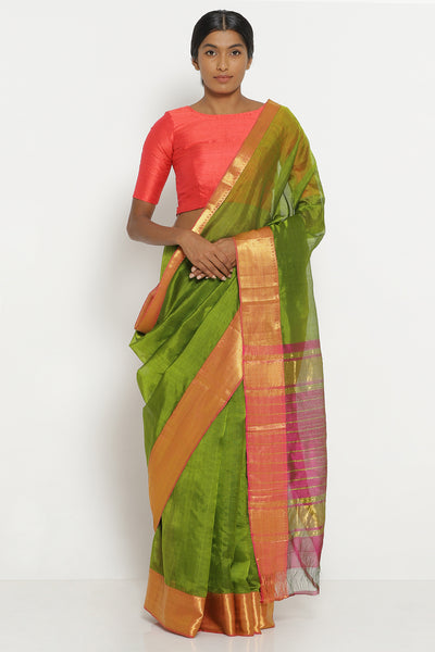 Via East leaf green handloom silk cotton mangalagiri saree with contrasting pink border