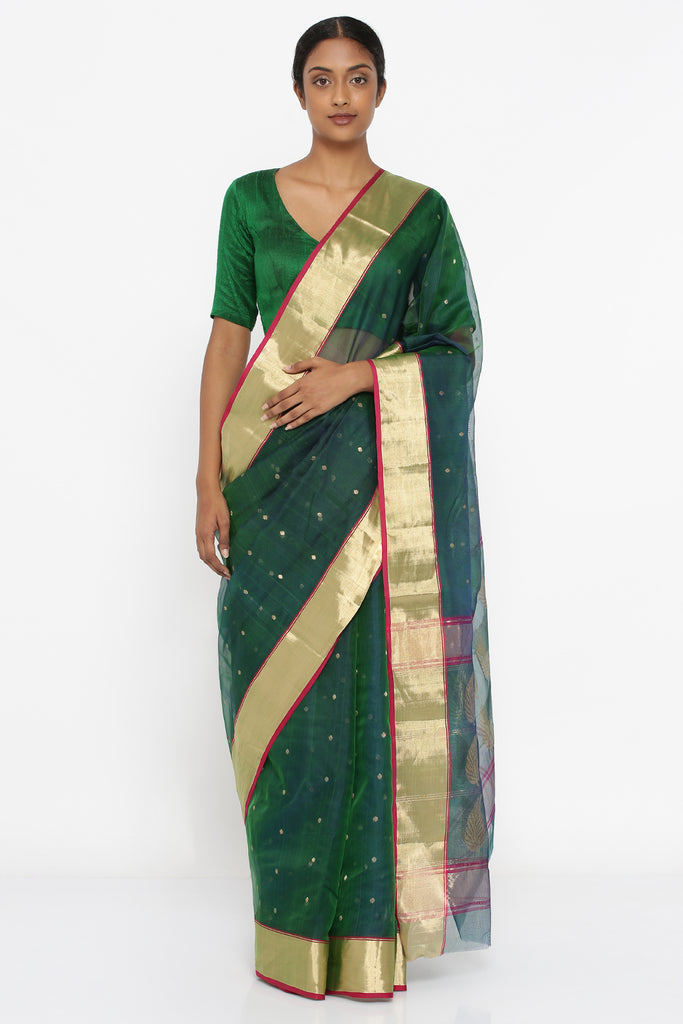 Deep Green Handloom Pure Chanderi Silk Sheer Saree with All Over Zari Motif and Intricate Border