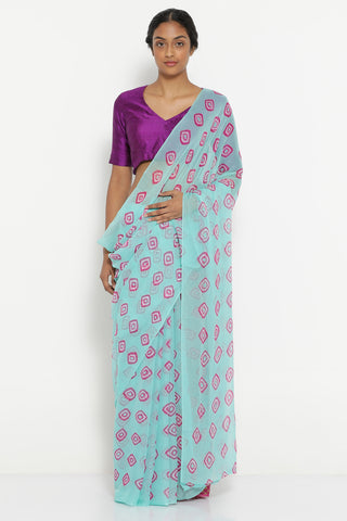 Blue Chiffon Saree with All Over Traditional Bandhini Print and Striking Blouse
