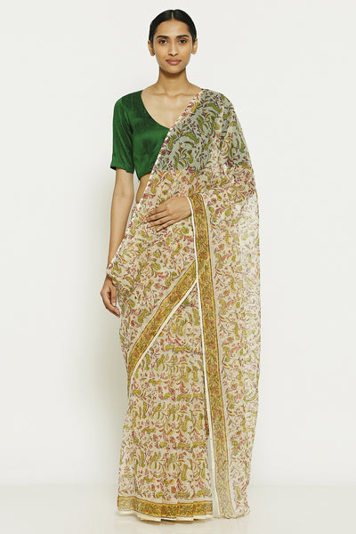 Via East white handloom pure kota cotton saree with traditional sanganeri print