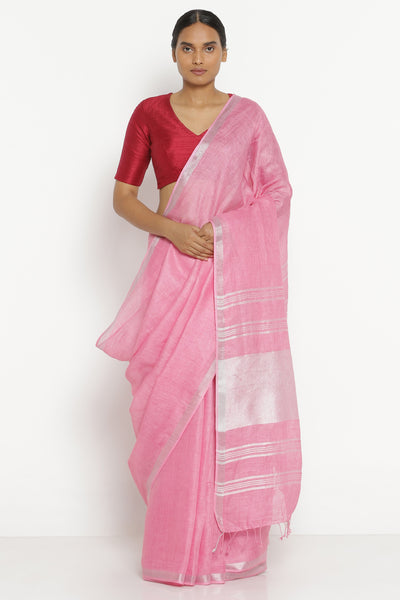 Via East pink pure linen saree with silver zari border