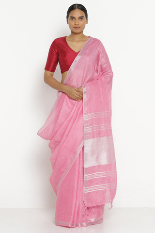 Pink Pure Linen Saree with Silver Zari Border