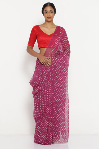 Purple Chiffon Saree with All Over Traditional Bandhini Print