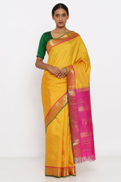 Via East yellow genuine handloom kanjeevaram silk saree with zari border and pink pallu