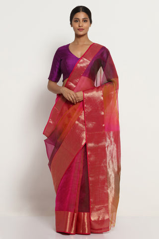Purple Pink Handloom Pure Silk Chanderi Saree with Ombre Effect