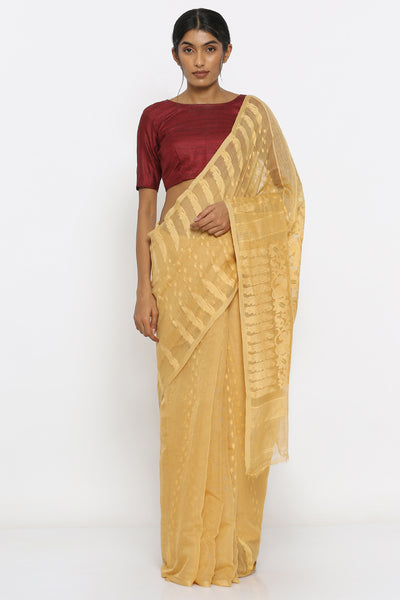 Via East beige dhakai jamdani saree with self weave motif 1
