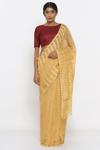 Beige Cotton-Muslin Jamdani Saree