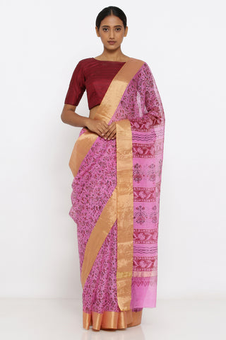 Pink Handloom Pure Kota Silk Saree with Allover Floral Print and Zari Border
