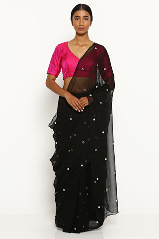 Deep Black Chiffon Saree with All Over Embellishment