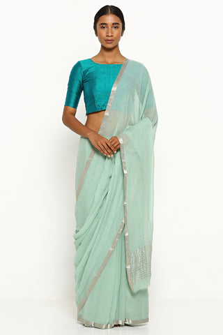 Mint Green Pure Chiffon Saree with All Over Traditional Mukaish Work