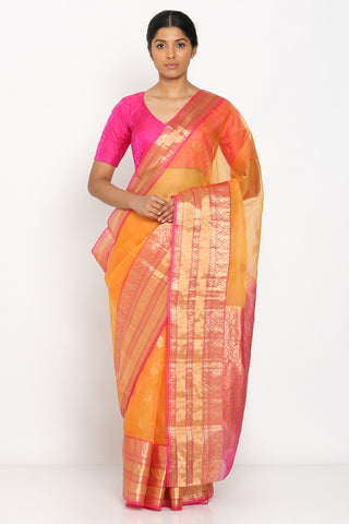 Yellow-Orange Handloom Kora Silk Banarasi Saree with All Over Zari Motif and Rich Border