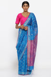 Blue Handloom Pure Matka Silk Saree with Allover Zari Motif and Pink Woven Border