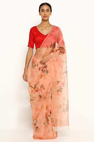 Peach Pure Silk Organza Sheer Saree with All Over Floral Print