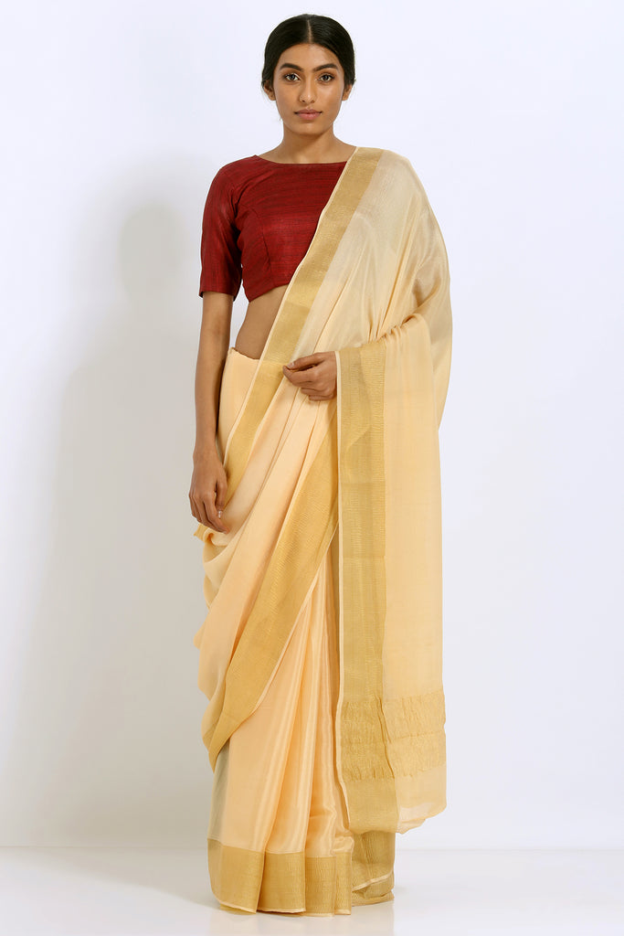 Beige Pure Crepe Saree with Solid Tissue Gold Border