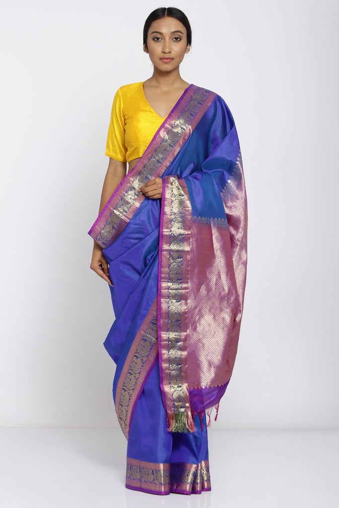 Blue Handloom Pure Silk Saree with Peacock Motif Border and Rich Pallu