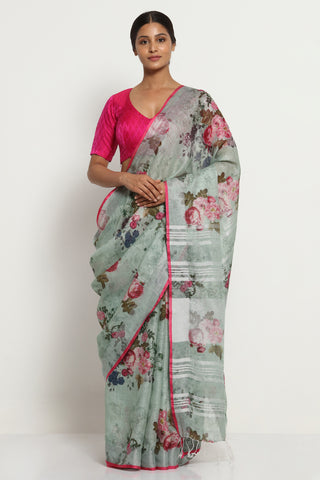 Grey Green Pure Linen Saree with All Over Floral Print and Silver Zari Border