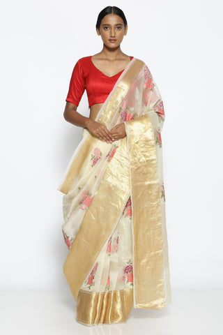 Off-White Pure Sheer Silk-Organza Saree with All Over Floral Embroidery