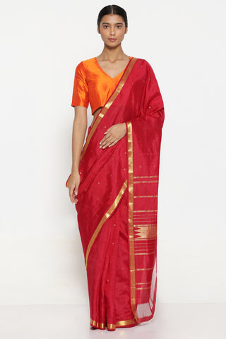 Red Handloom Pure Silk Kanjeevaram Saree with All Over Pure Zari Motifs and Detailed Pallu
