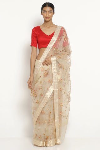Beige Handloom Pure Silk-Organza Saree with All Over Floral Embellishments