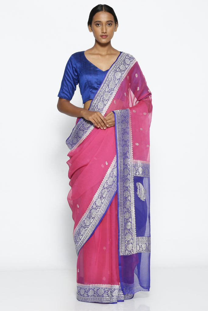 Vibrant Pink Pure Georgette Banarasi Saree with Intricate Violet Zari Border