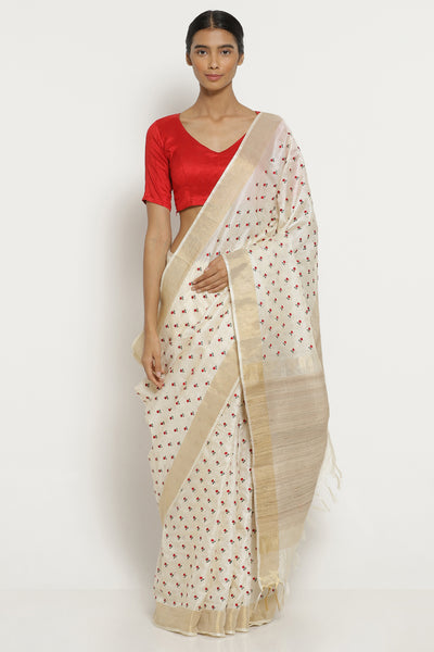 Via East off white handloom pure tussar silk saree with all over floral embroidery