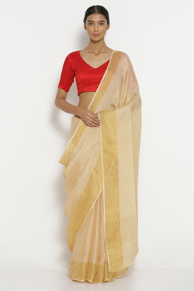Via East cream pure crepe saree with all over gold zari checks and zari border
