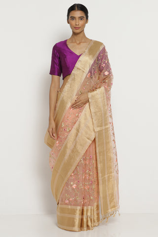 Blush Pink Handloom Pure Silk-Organza Saree with All Over Floral Embroidery