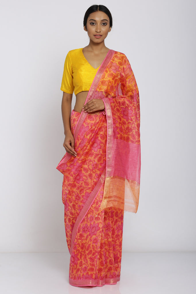 Orange Handloom Linen Silk Saree with All Over Floral Print and Zari Border