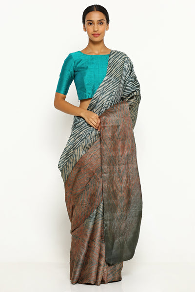 Via East brown grey pure tussar silk saree with all over traditional hand dyed shibori print