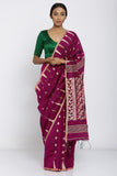 Deep Pink Handloom Pure Cotton Saree with All Over Woven Motif and Rich Pallu