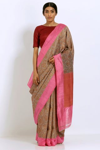 Grey Handloom Pure Silk Banarasi Tanchoi Saree with All Over Zari Work and Pink Border