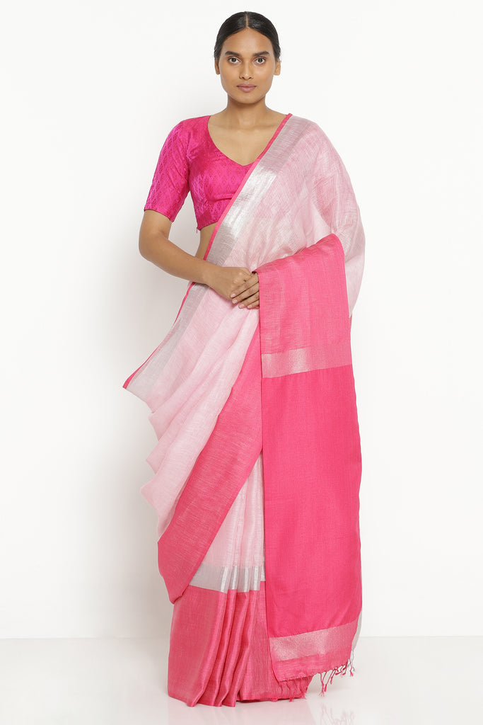 Powder Pink Pure Linen Saree with Pink and Silver Zari Border