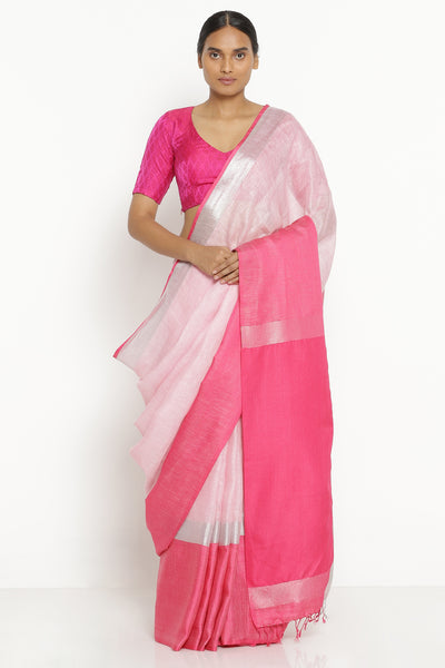 Via East powder pink pure linen saree with pink and silver zari border