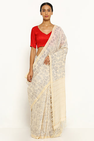 Beige Pure Cotton Saree with All Over Botanical Print and Gold Zari Border