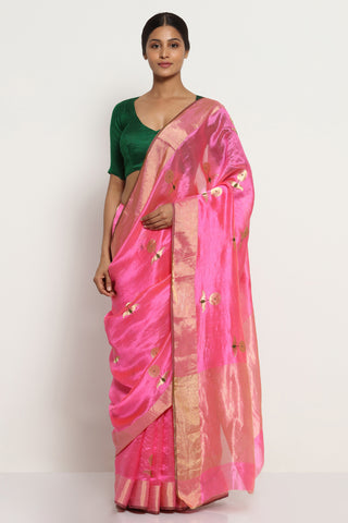 Bright Pink Handloom Pure Silk Chanderi Saree with All Over Motifs and Rich Gold Zari Border