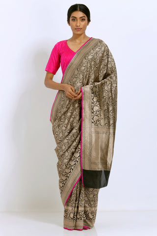 Black Handloom Pure Silk Banarasi Tanchoi Saree with Intricate Allover Handwoven Zari Work