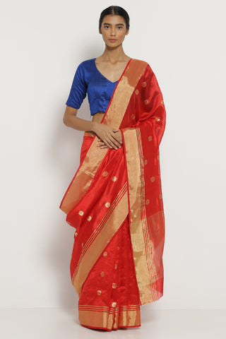 Red Handloom Pure Silk Chanderi Saree with All Over Zari Motifs