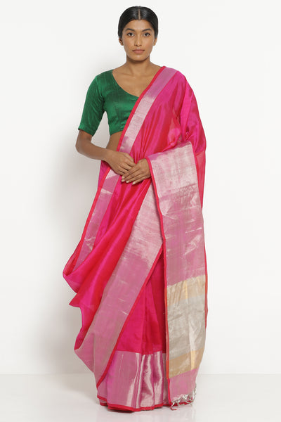 Via East bright pink handloom silk cotton mangalagiri saree with rich silver border